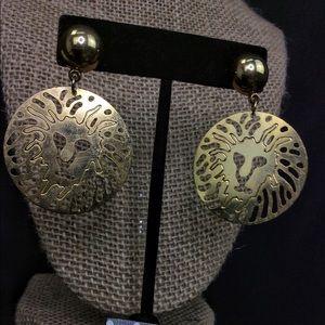 Vintage Afrikaans Gold Lion Earrings